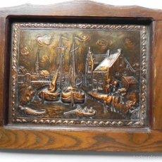 Varios objetos de Arte: ** PRECIOSO CUADRO EN COBRE REPUJADO DE PUEBLO MARINERO **. Lote 56035235