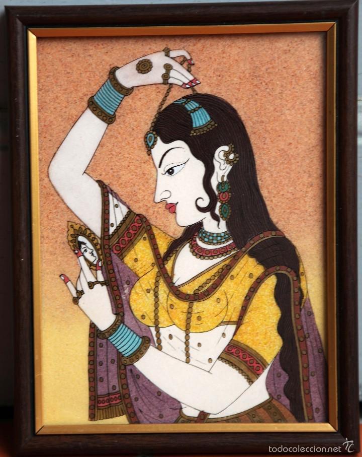 PINTURA INDIA EN PIEDRA INSCRUSTADA, 20 X 15CM (Arte - Varios Objetos de Arte)