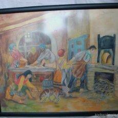 Varios objetos de Arte: GRAN CUADRO EN LÁPIZ DE ACUARELA REPRODUCIÓN HORNO PAN PANADERÍA PANADERO ENMARCADO CON CRISTAL. Lote 56400655