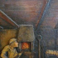 Varios objetos de Arte: ESPECTACULAR TRABAJO DE PINTURA EN RELIEVE SOBRE TABLEX HORNO PAN PANADERO PANADERÍA. Lote 56400739