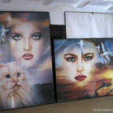 Varios objetos de Arte: XXL - 99 CM - 2 CUADROS POP ART VINTAGE FASHION PATRIGNANI MILANO - CHICAS CON ANIMALES. Lote 144138970