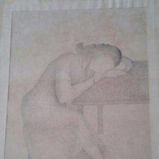Varios objetos de Arte: CUADRO MUJER DORMIDA - TÉCNICA PUNTILLISTA - FIRMADO E. VENTUREIRA - 43 X 56 ( CON MARCO ). Lote 56719448