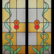 Varios objetos de Arte: VIDRIERA DE CRISTAL EMPLOMADO EN DOS PIEZAS DE 36*86 C/U. Lote 56961099