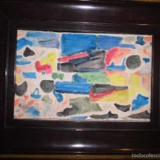 Varios objetos de Arte: PINTURA ANTIGUA ACUARELA EN CARTON ABSTRACTO FIRMA INICIAL DETERIORADO. Lote 57080768