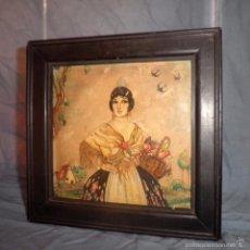 Varios objetos de Arte: ANTIGUA PINTURA SIGLO XIX - FALLERA - EN MADERA·MUY RARO.. Lote 57271602
