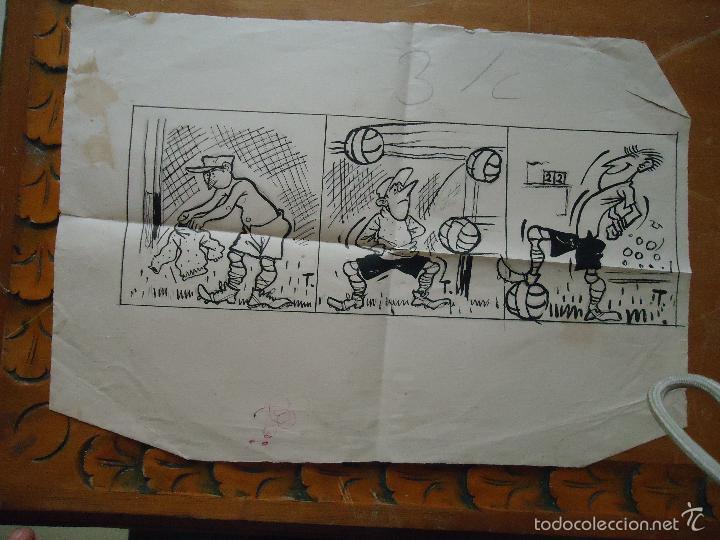 APUNTE PINTURA DIBUJO ORIGINAL HUMOR FUTBOL A LAPIZ Y PLUMILLA PARA PUBLICACION DE PRENSA (Arte - Varios Objetos de Arte)