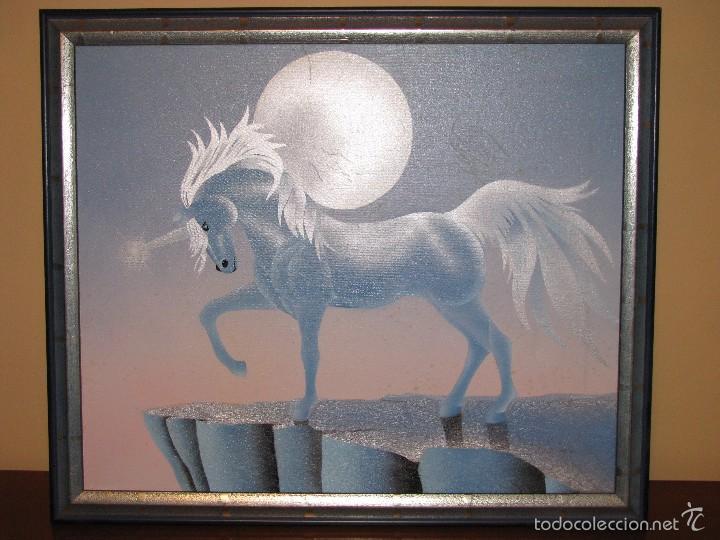 Varios objetos de Arte: UNICORNIO. CUADRO. LIENZO. 60X50 CM. MARCO. ENVIO GRATIS PARA PENINSULA. - Foto 2 - 57373293