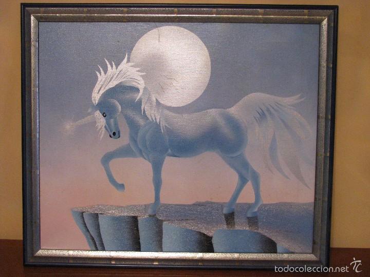 Varios objetos de Arte: UNICORNIO. CUADRO. LIENZO. 60X50 CM. MARCO. ENVIO GRATIS PARA PENINSULA. - Foto 3 - 57373293