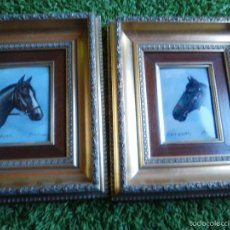 Varios objetos de Arte: LOTE DE 2 CUADROS CABALLOS, PINTURA SOBRE CHAPA, FIRMADOS. Lote 57405954