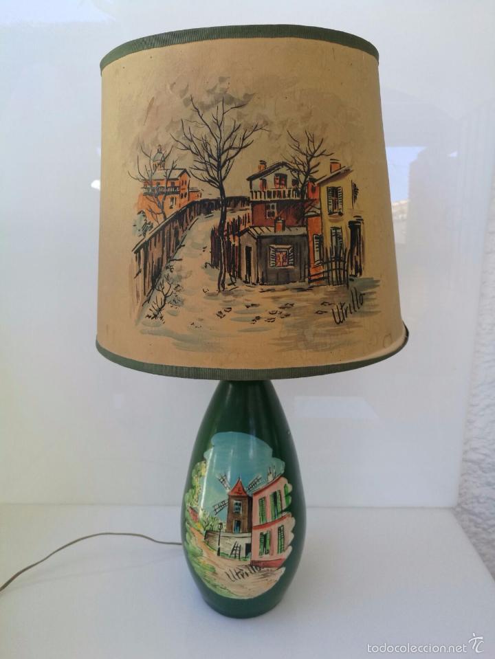 UTRILLO OBRA SOBRE LAMPARA Y TULIPA - PRINCIPIOS DEL SIGLO XX - BARRO TERRACOTA - 60 CM (Arte - Varios Objetos de Arte)