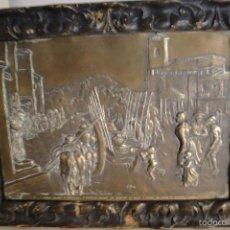 Varios objetos de Arte: CUADRO DE METAL REPUJADO DE DON QUIJOTE ENMARCADO EN MADERA ANTIGUEDAD 150 AÑOS =MIDE 36X25=. Lote 57792719