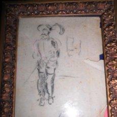 Varios objetos de Arte: ANTIGUO DIBUJO ESPADACHIN FIRMADO CARBONCILLO. Lote 50812136