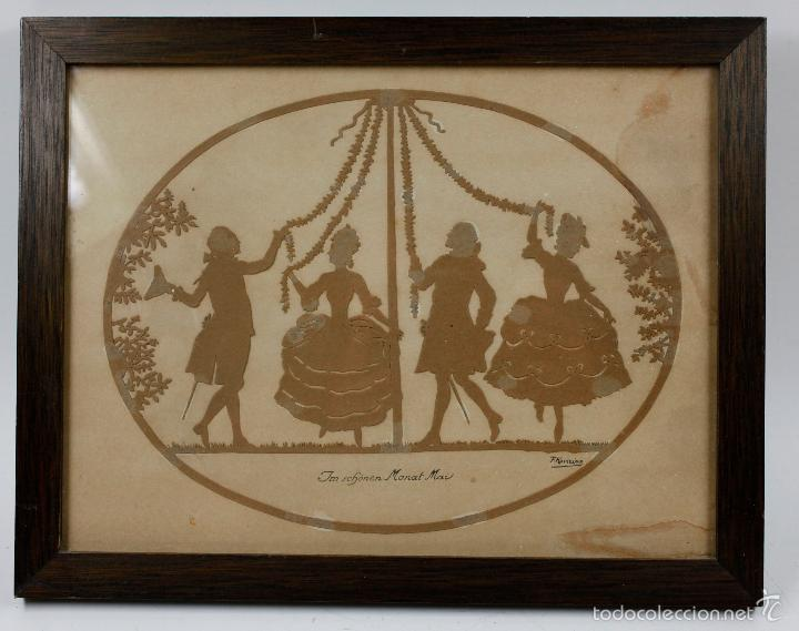 FRIEDRICH KASKELINE. SOMBRAS RECORTADAS, 1920'S. MARCO: 24X32CM (Arte - Varios Objetos de Arte)