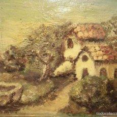Varios objetos de Arte: LOTE OLEO ANTIGUA PINTURA IMPRESIONISTA FIRMA ILEGIBLE VILA MANUSCRITO EN REVERSO. Lote 57281094