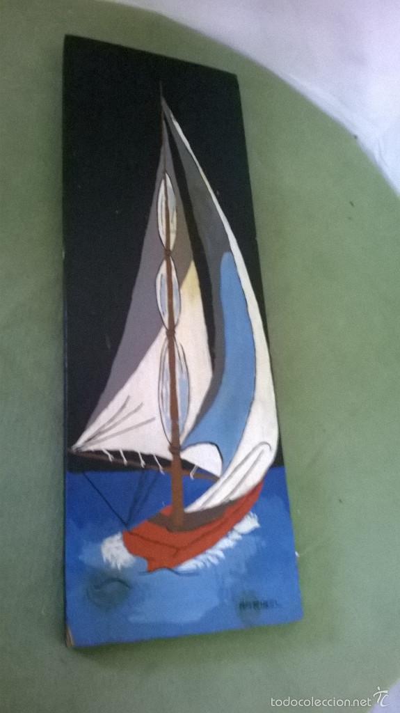 Varios objetos de Arte: marina firmada en madera - Foto 5 - 58395383
