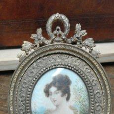 Varios objetos de Arte: MINIATURA PINTADA SOBRE MARFIL MARCO BRONCE . Lote 58560225