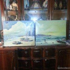 Varios objetos de Arte: 2 PINTURAS AL OLEO SOBRE LIENZOS BASTIDOR VISTA DE CADIZ PLAYA DE LA CALETA Y CAMPO DEL SUR 1986. Lote 58626510