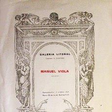 Varios objetos de Arte: MANUEL VIOLA. POSTER DE 500 EJEMPLARES, CON UN POEMA EN EL REVERSO DE LUIS ROSALES. (A CAFFARENA. Lote 58704272