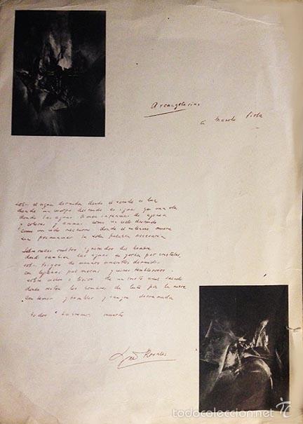 Varios objetos de Arte: Manuel Viola. Poster de 500 ejemplares, con un poema en el reverso de Luis Rosales. (A Caffarena - Foto 2 - 58704272