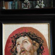 "Varios objetos de Arte: CUADRO BORDADO. PUNTO DE CRUZ. PETIT POINT. ""AGONIA DE JESÚS"". MARCO MADERA S.XX. Lote 59194485"