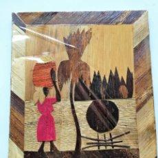 Varios objetos de Arte: TABLA CON DIBUJO HECHO DE CORTEZAS DE ARBOL O MATERIA VEGETAL. Lote 60068879