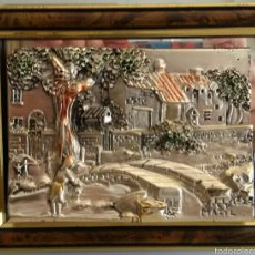 Varios objetos de Arte: CUADRO CON RELIEVE DE PLATA ARG 925. Lote 118945304