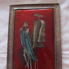 Varios objetos de Arte: CUADRO DE ESMALTE ANTIGUO DON QUIJOTE Y LOS ODRES DE VINO. Lote 60669291