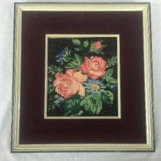 Varios objetos de Arte: ANTIGUO CUADRO PUNTO DE CRUZ ENMARCADO. Lote 61319883