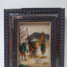 Varios objetos de Arte: PRECIOSO CUADRO . DETALLE DON QUIJOTE Y SANCHO PANZA . CRISTAL PINTADO. Lote 62538428