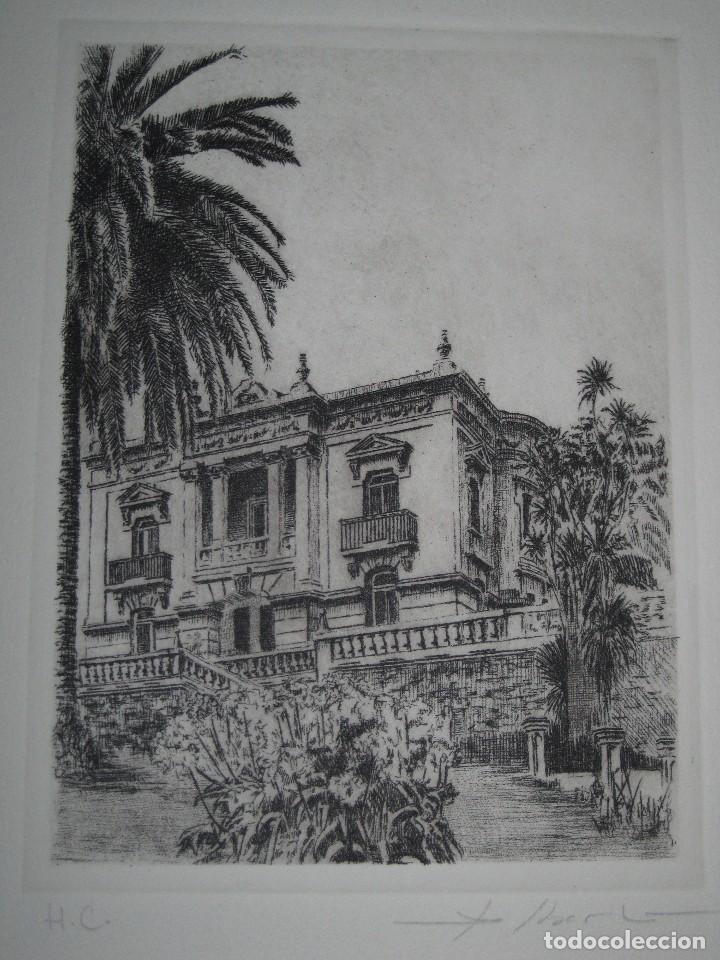 ANTIGUO GRABADO EDIFICIO VALENCIA FIRMA MANUSCRITA SELLO TROQUELADO (Arte - Varios Objetos de Arte)