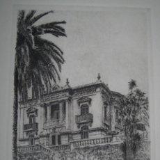 Varios objetos de Arte: ANTIGUO GRABADO EDIFICIO VALENCIA FIRMA MANUSCRITA SELLO TROQUELADO. Lote 62794476