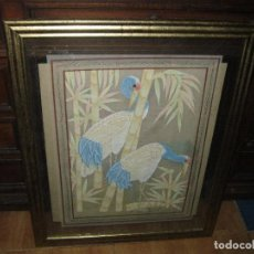 Varios objetos de Arte: ANTIGUO CUADRO SEDA BORDADO ENVITRINADO. Lote 63615407