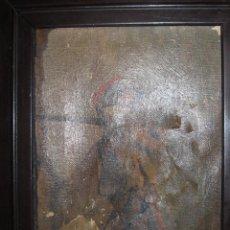 Varios objetos de Arte: ESPADACHIN ANTIGUO CUADRO ESTAMPA SOBRE LIENZO PINTADA EN ALGUNAS ZONAS AL OLEO. Lote 108199544