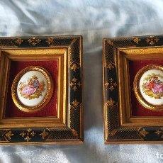 Varios objetos de Arte: PAREJA CUADROS DIBUJOS ESMALTADOS. Lote 64181095