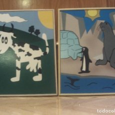 Varios objetos de Arte: DOS CUADROS DECORATIVOS DE UNA VACA Y OTRO DE UNA FOCA Y UN PINGÚINO. Lote 64881675