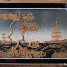Varios objetos de Arte: PAISAJE ESTILO JAPONÉS - HECHO EN CORCHO. Lote 65010523