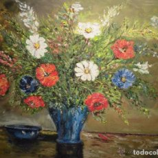 Varios objetos de Arte: ANTIGUA PINTURA OLEO LIENZO FLORES FIRMADO GOMEZ O GAMEZ PINTURA IMPRESIONISTA. Lote 65672818