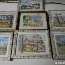 Varios objetos de Arte: TEMPLOS DE GIJON. COLECCION LA SIRENA. LOTE DE 7 CUADROS. NUMEROS 11, 15, 16, 17, 18, 19 Y 21. MIDE. Lote 65786754