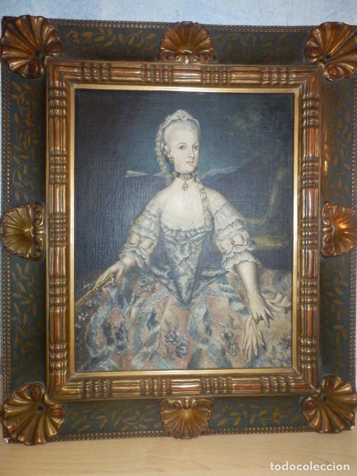 Varios objetos de Arte: Muy antiguo Oleo Sobre Tabla - Dama de aspecto Luis XV o similar - Marco precioso - Excelente estado - Foto 2 - 65890270