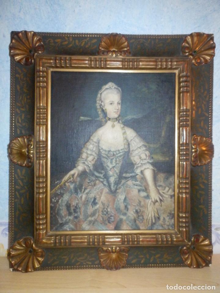 Varios objetos de Arte: Muy antiguo Oleo Sobre Tabla - Dama de aspecto Luis XV o similar - Marco precioso - Excelente estado - Foto 3 - 65890270