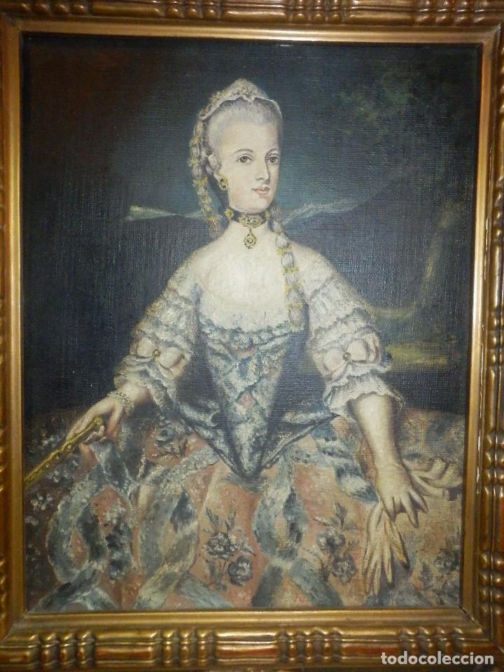Varios objetos de Arte: Muy antiguo Oleo Sobre Tabla - Dama de aspecto Luis XV o similar - Marco precioso - Excelente estado - Foto 4 - 65890270