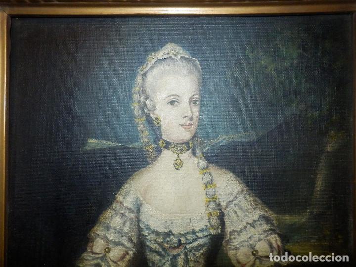 Varios objetos de Arte: Muy antiguo Oleo Sobre Tabla - Dama de aspecto Luis XV o similar - Marco precioso - Excelente estado - Foto 5 - 65890270