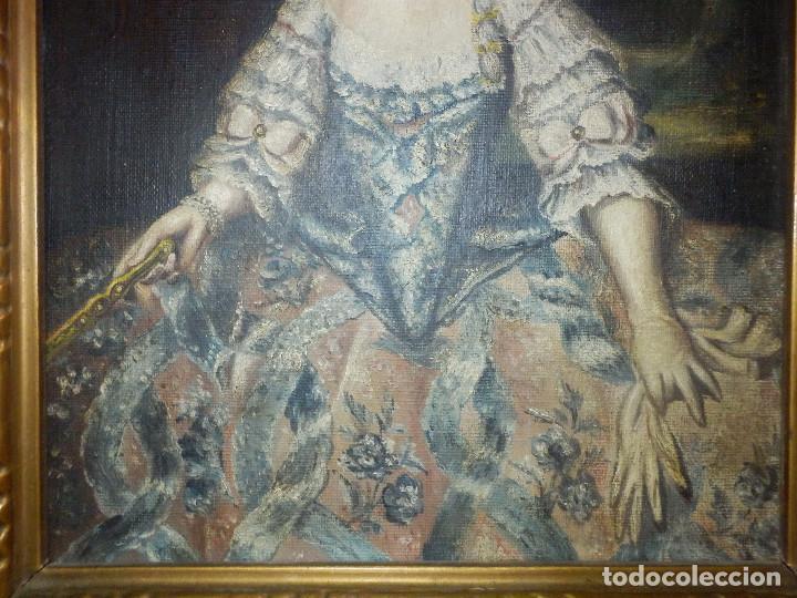 Varios objetos de Arte: Muy antiguo Oleo Sobre Tabla - Dama de aspecto Luis XV o similar - Marco precioso - Excelente estado - Foto 6 - 65890270