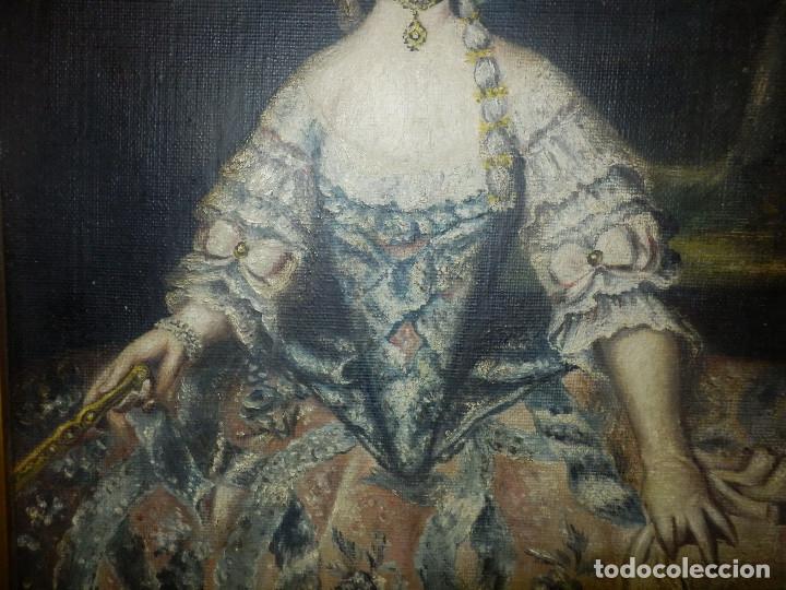 Varios objetos de Arte: Muy antiguo Oleo Sobre Tabla - Dama de aspecto Luis XV o similar - Marco precioso - Excelente estado - Foto 7 - 65890270