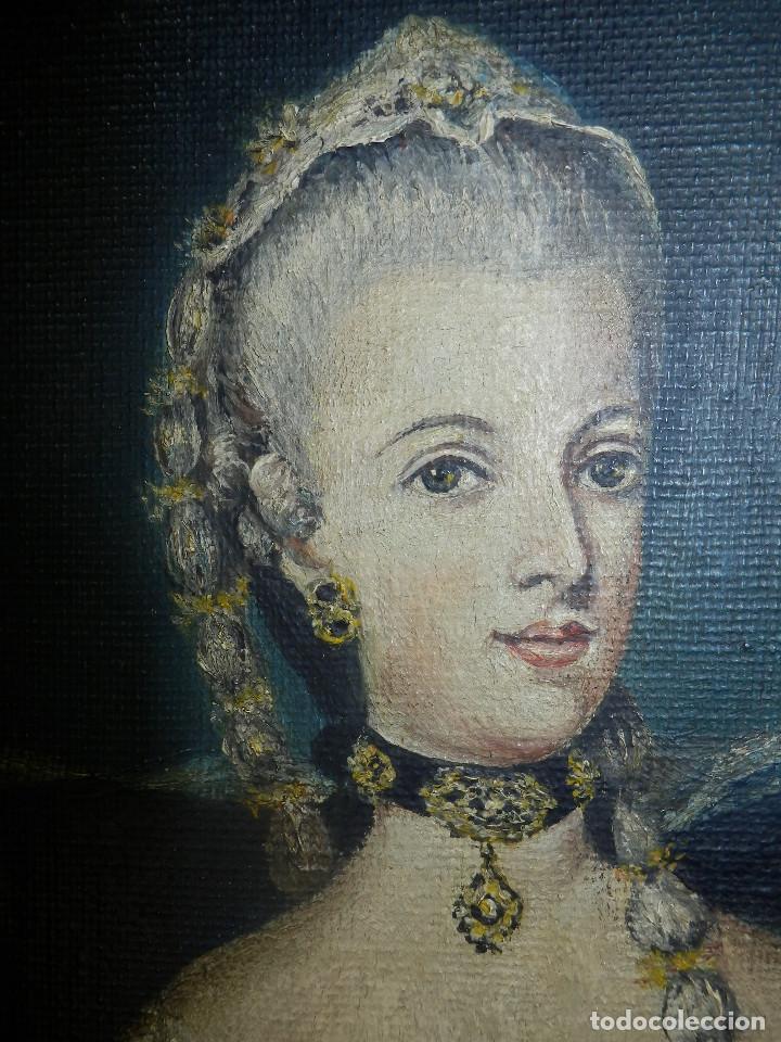 Varios objetos de Arte: Muy antiguo Oleo Sobre Tabla - Dama de aspecto Luis XV o similar - Marco precioso - Excelente estado - Foto 9 - 65890270