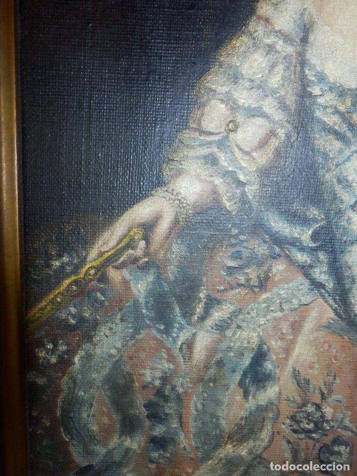 Varios objetos de Arte: Muy antiguo Oleo Sobre Tabla - Dama de aspecto Luis XV o similar - Marco precioso - Excelente estado - Foto 10 - 65890270