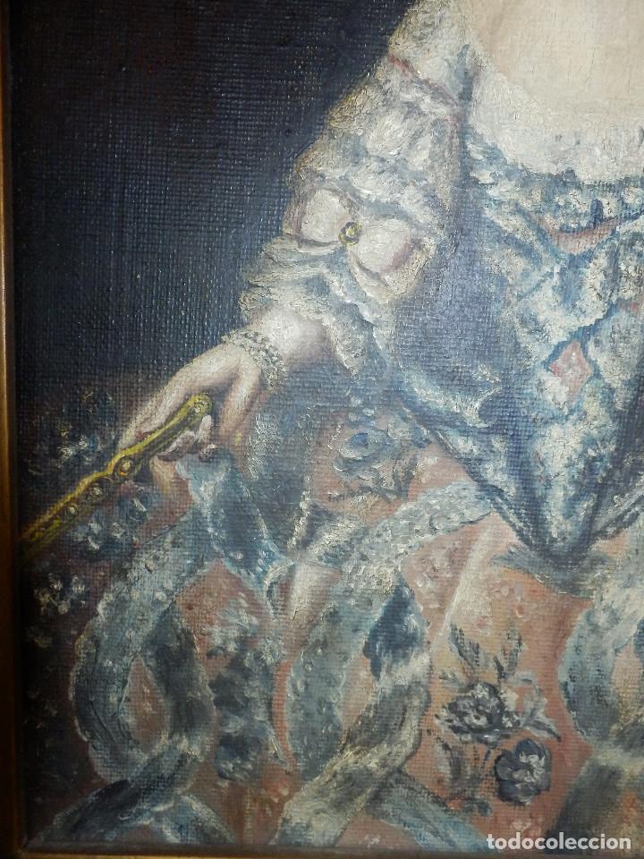 Varios objetos de Arte: Muy antiguo Oleo Sobre Tabla - Dama de aspecto Luis XV o similar - Marco precioso - Excelente estado - Foto 11 - 65890270