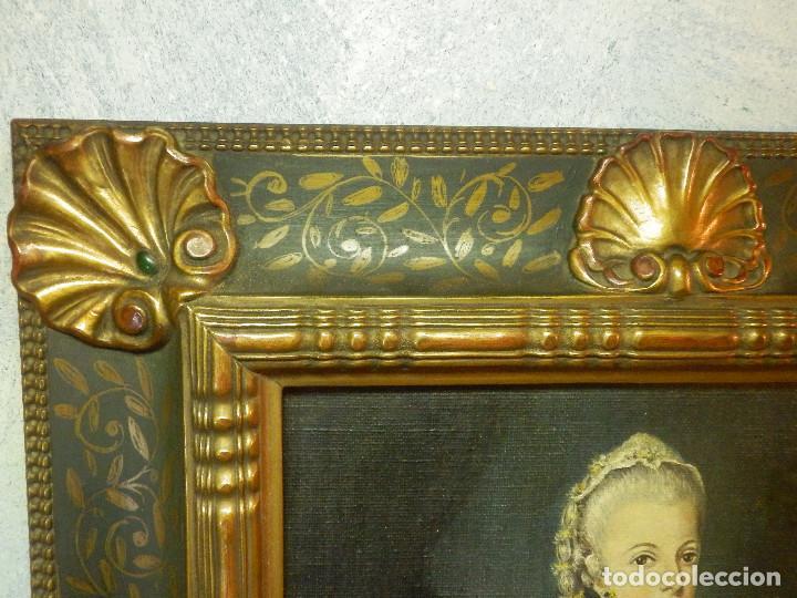 Varios objetos de Arte: Muy antiguo Oleo Sobre Tabla - Dama de aspecto Luis XV o similar - Marco precioso - Excelente estado - Foto 14 - 65890270
