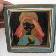 Varios objetos de Arte: VIRGEN CON NIÑO PINTURA AÑOS 60 SOBRE AZULEJO ONDA CASTELLON FORMADO PECHUAN. Lote 66031854