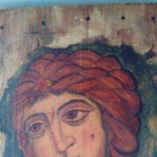 Varios objetos de Arte: PINTURA ICONO DEL ÁNGEL DE LOS CABELLOS DE ORO SOBRE TABLA ANTIGUA. Lote 67107473